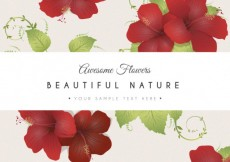 Free vector Red flowers card #7548