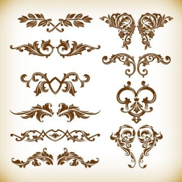 Free vector Retro Floral Element Vector Graphics Set #4980