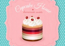 Free vector Retro label with a cupcake #10732