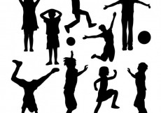 Free vector Silhouettes of kids playing #7041