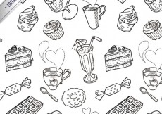 Free vector Sketchy sweets pattern #9836