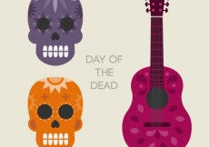 Free vector Skulls and guitar for the day of the dead #10623