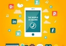 Free vector Social media icons with a mobile phone #10718