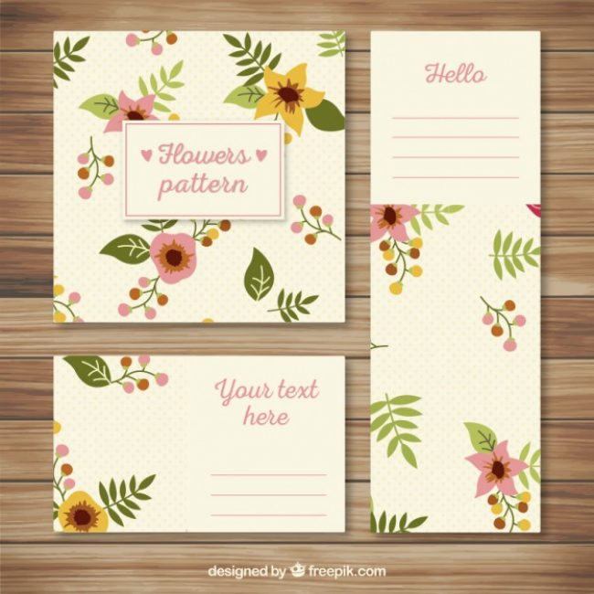 Free vector Stationery with floral pattern #9078