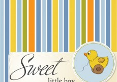 Free vector Striped and colorful baby shower card with  toy  duc #4394
