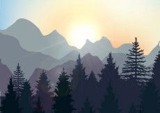 Free vector Sunrise landscape in the forest #6084