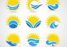 Free vector Suns and waves icons #5925