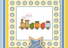 Free vector Toy train baby shower card #4427