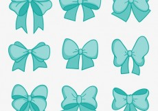 Free vector Turquoise bows collection #5673