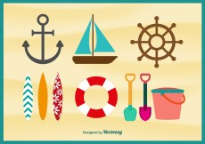 Free vector Beach Time Flat Icons #11163