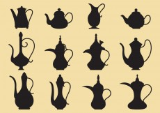 Free vector Coffee And Tea Pots Silhouettes #10869