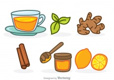 Free vector Herbal Tea Cartoon Set Icons #10136