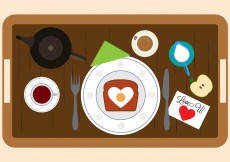 Free vector Vector Illustration of Breakfast in Bed Elements #11161