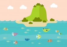 Free vector Vector Illustration of Colorful Underwater Backgound #5500
