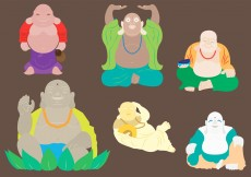 Free vector Vector Illustration of Fat Buddha in Six Different Body Positions #11742