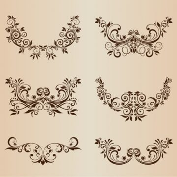 Free vector Vector Set of Floral Decorative Ornament Elements #5485