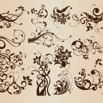 Free vector Vector Set of Vintage Floral Elements for Design #5828