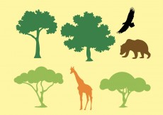 Free vector Vector Silhouette of Trees and Animals #11748