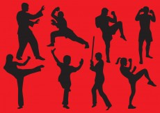 Free vector Woman And Man Fighting Silhouettes #6214