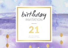 Free vector Watercolor and golden birthday invitation #6806