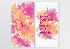 Free vector Watercolor banners with positive quote #9232