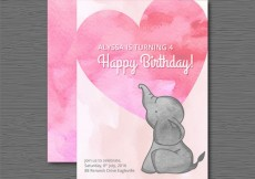 Free vector Watercolor birthday card with an elephant #5843