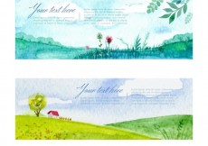 Free vector Watercolor landscape banners pack #8053