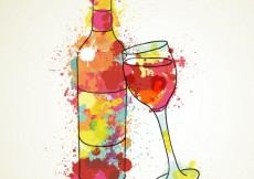 Free vector Watercolor wine bottle and wineglass #9938