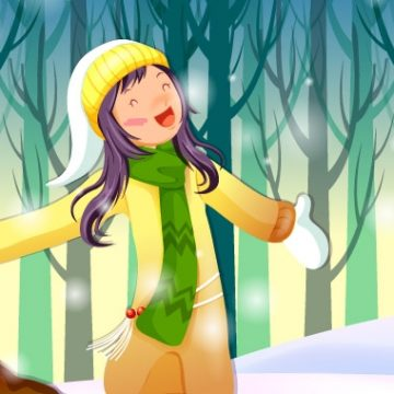 Free vector X-mas Vector. Girl is standing around snowflakes #4375