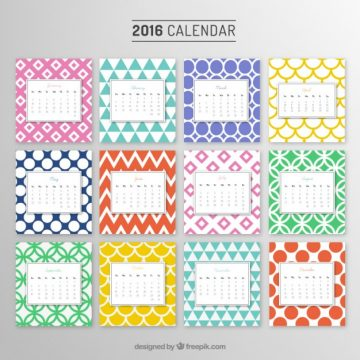 Free vector Yearly calendar with colorful patterns #5976