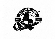 Free vector Airplane badge in retro style #17389