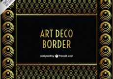 Free vector Arte deco border in golden and black color #15797