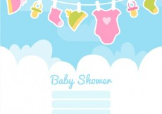 Free vector Baby shower card with baby clothes #19458