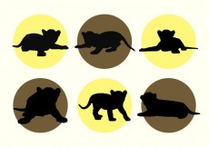 Free vector Baby Tigers Vector Silhouettes #13467