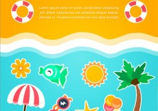 Free vector Beach background with summer icons #16756