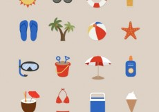 Free vector Beach icons for summertime #16597