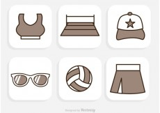 Free vector Beach Volleyball Icons Vector #20233
