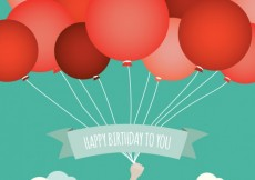 Free vector Birthday card with red balloons #16939