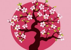 Free vector Cherry tree over pink dot #19318