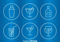 Free vector Cocktail Circle Outline Icons #18498