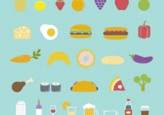 Free vector Colorful food icons #17053