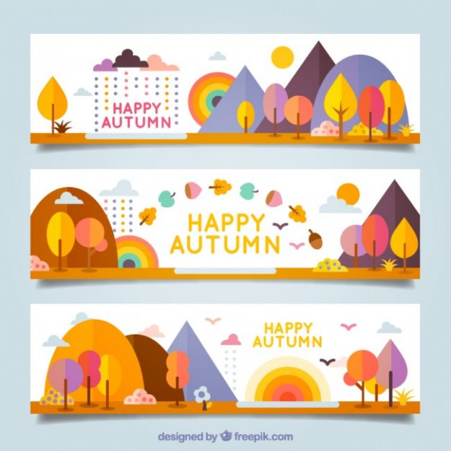 Free vector Colorful happy autumn banners #15683