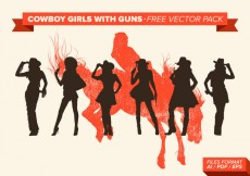 Free vector Cowboy Girls With Guns Silhouette Free Vector Pack #18970