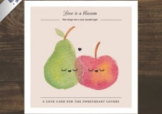 Free vector Cute fruits card in watercolor style #18536