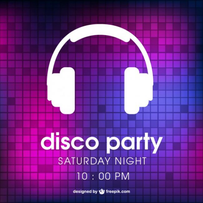 Free vector Disco party poster with headphones #12903