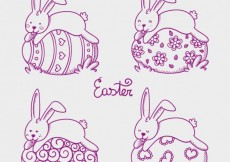 Free vector Easter bunnies sleeping on easter eggs #18795
