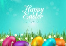 Free vector Easter card with colorful eggs #19844