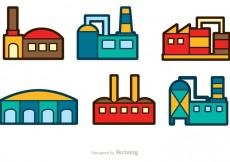 Free vector Factory Building Vector Icons #19591