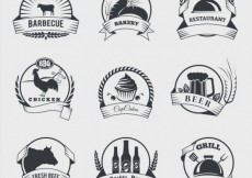 Free vector Food badges in retro style #18867
