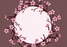 Free vector Framed circle with cherry blossoms #19322